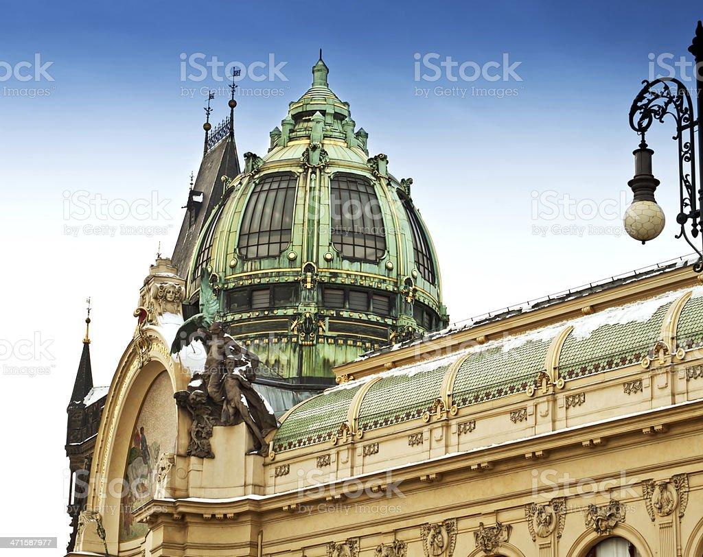 Municipal House and Powder Gate in Prague, Czech Republic royalty-free stock photo