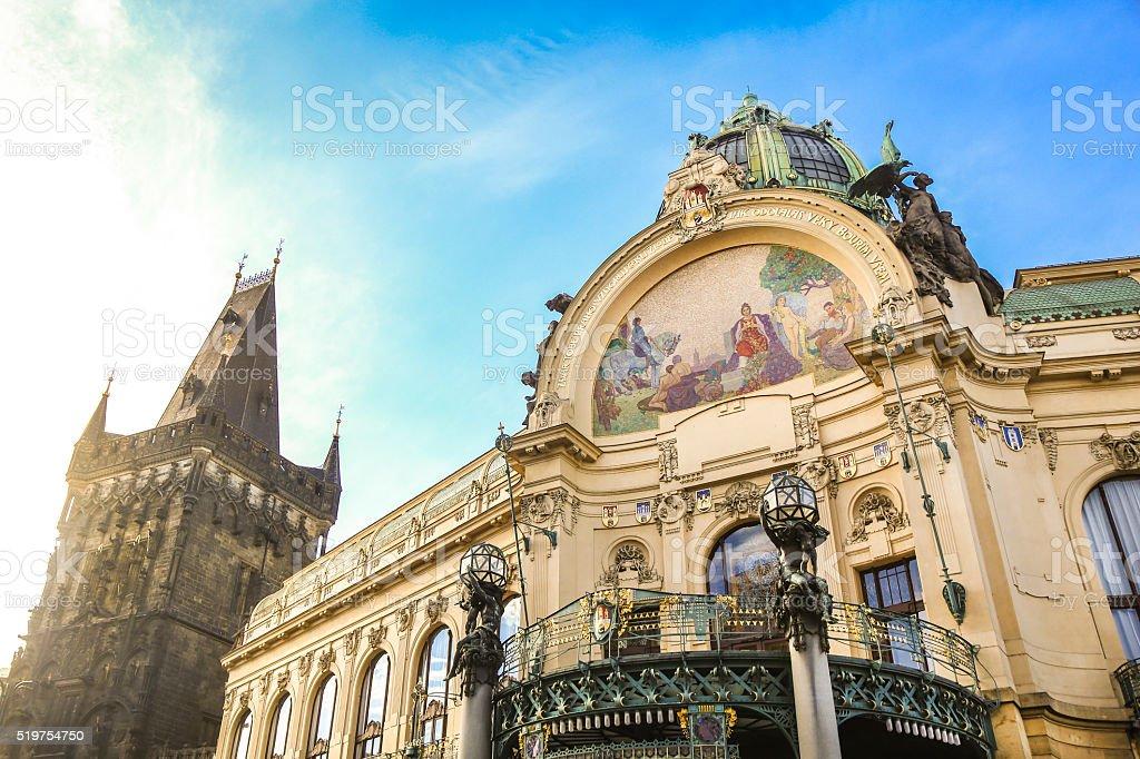 Municipal House and Powder Tower Prague stock photo