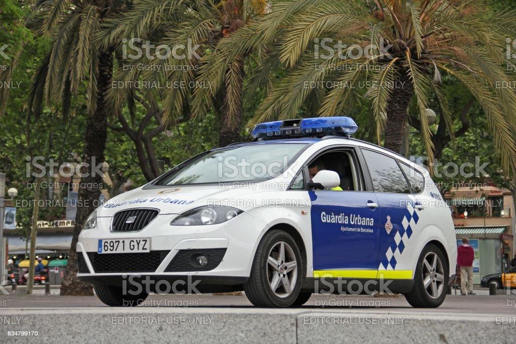 Municipal police car in Barcelona stock photo