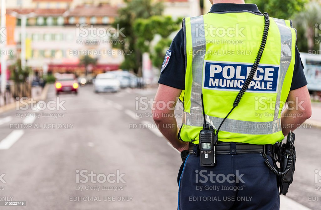 Police Municipale in Cannes, France stock photo