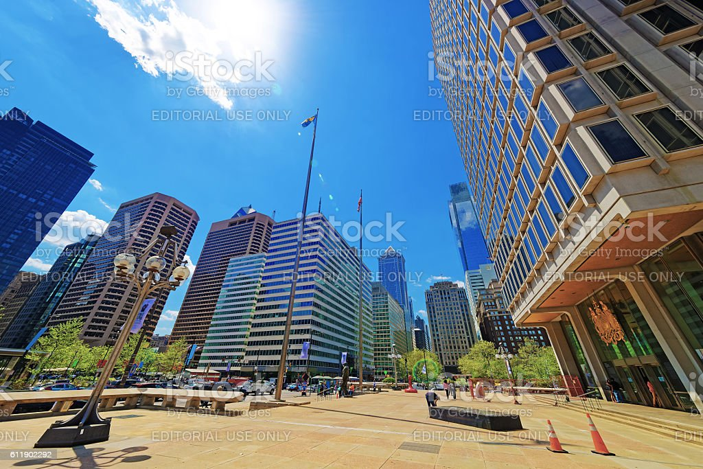 Municipal Services Building and Penn Center with skyscrapers stock photo