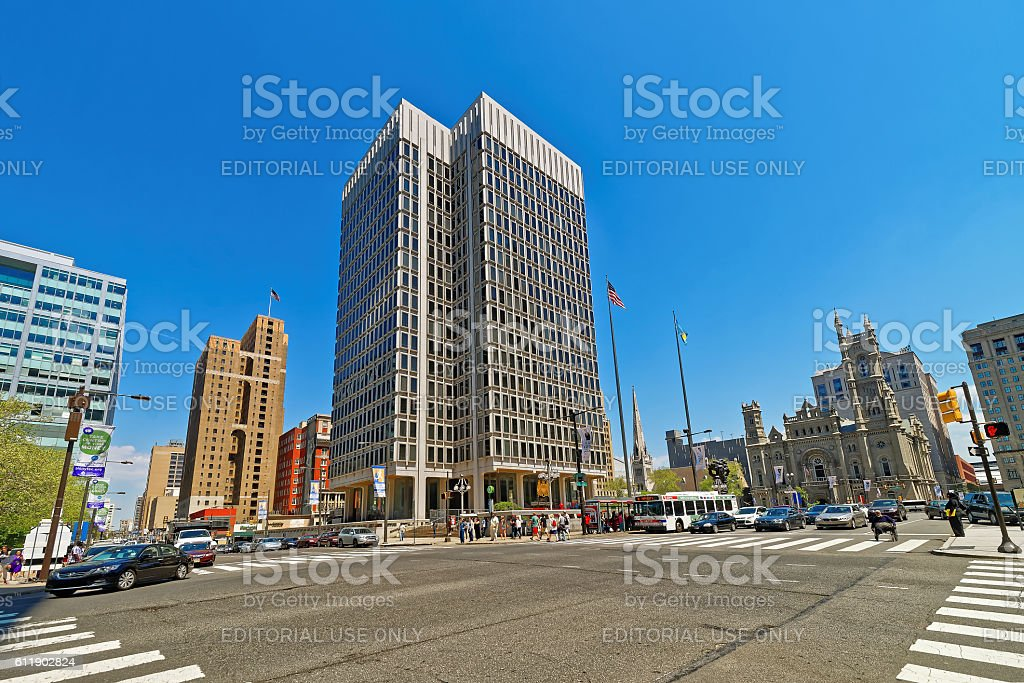 Municipal Services Building and skyscrapers in Philadelphia stock photo