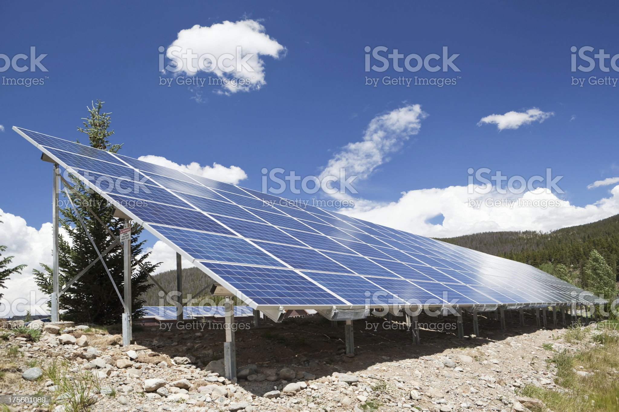 Municipal Solar Panels in a Mountain Setting royalty-free stock photo