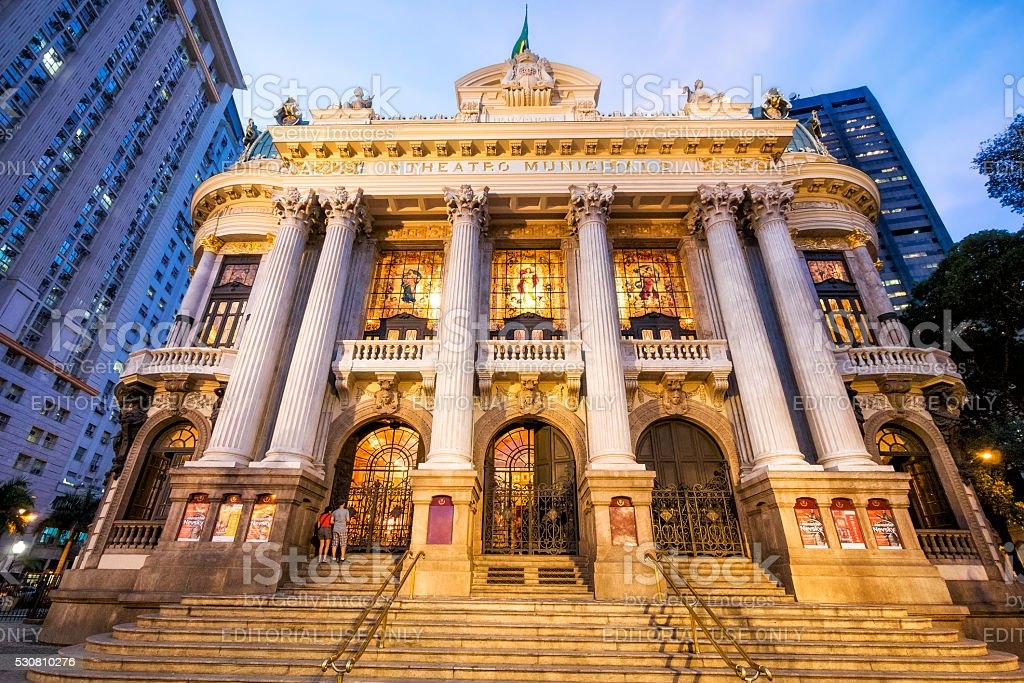 Municipal Theatre in Rio de Janeiro, Brazil stock photo