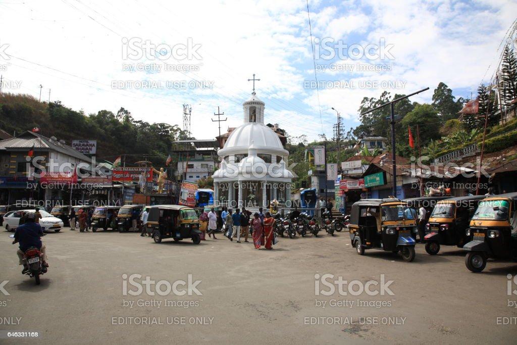 Munnar town center with tuktuk, Kerala, India stock photo