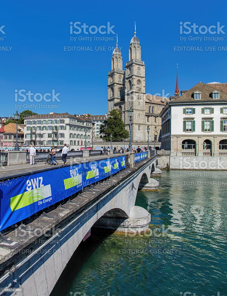 Munsterbrucke and Grossmunster stock photo