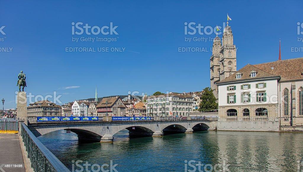 Munsterbrucke bridge in Zurich stock photo