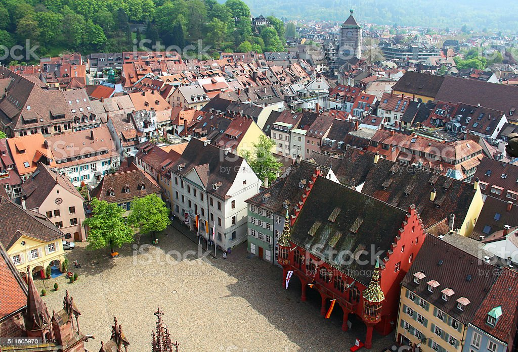 Munsterplatz and Freiburg old town, Germany stock photo