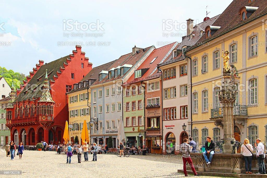 Munsterplatz, Freiburg im Breisgau, Germany stock photo