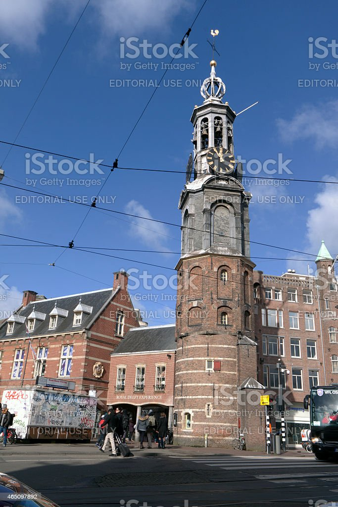 Munt tower in Amsterdam at the munt stock photo