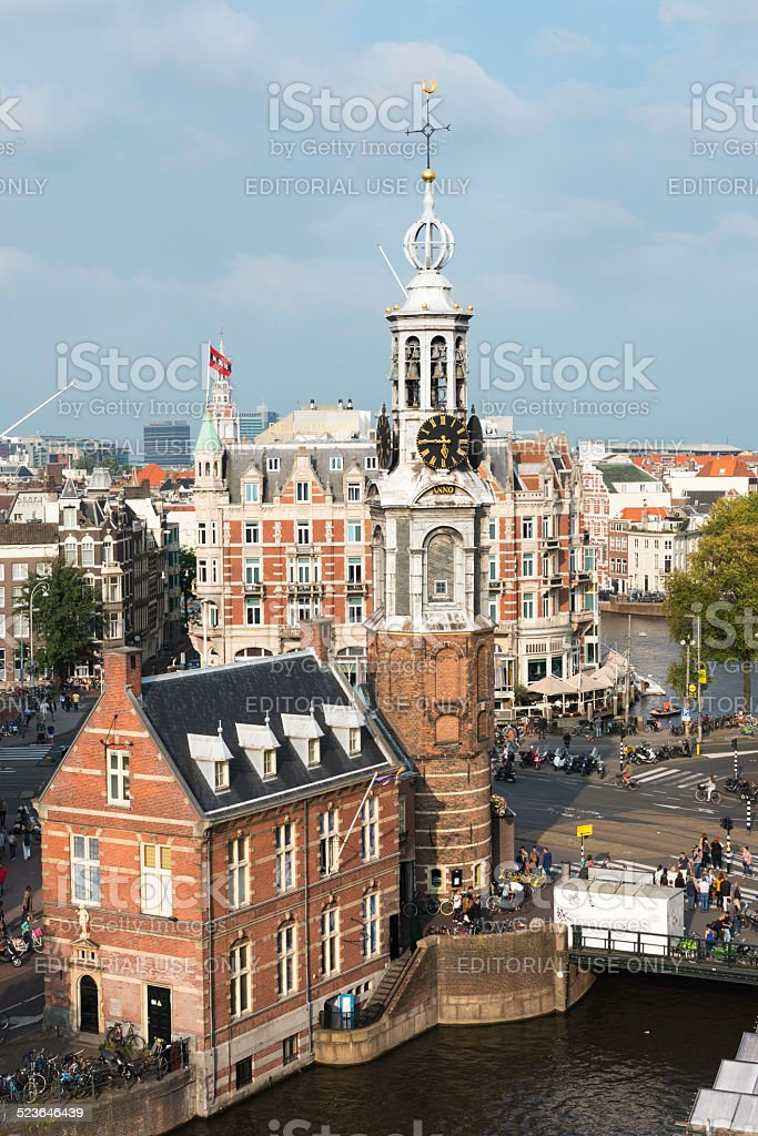 Muntplein and Amsterdam cityscape from above, the Netherlands stock photo