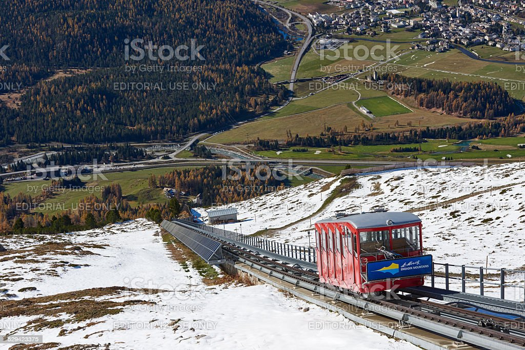 Muottas Funicular and Engadin Valley stock photo