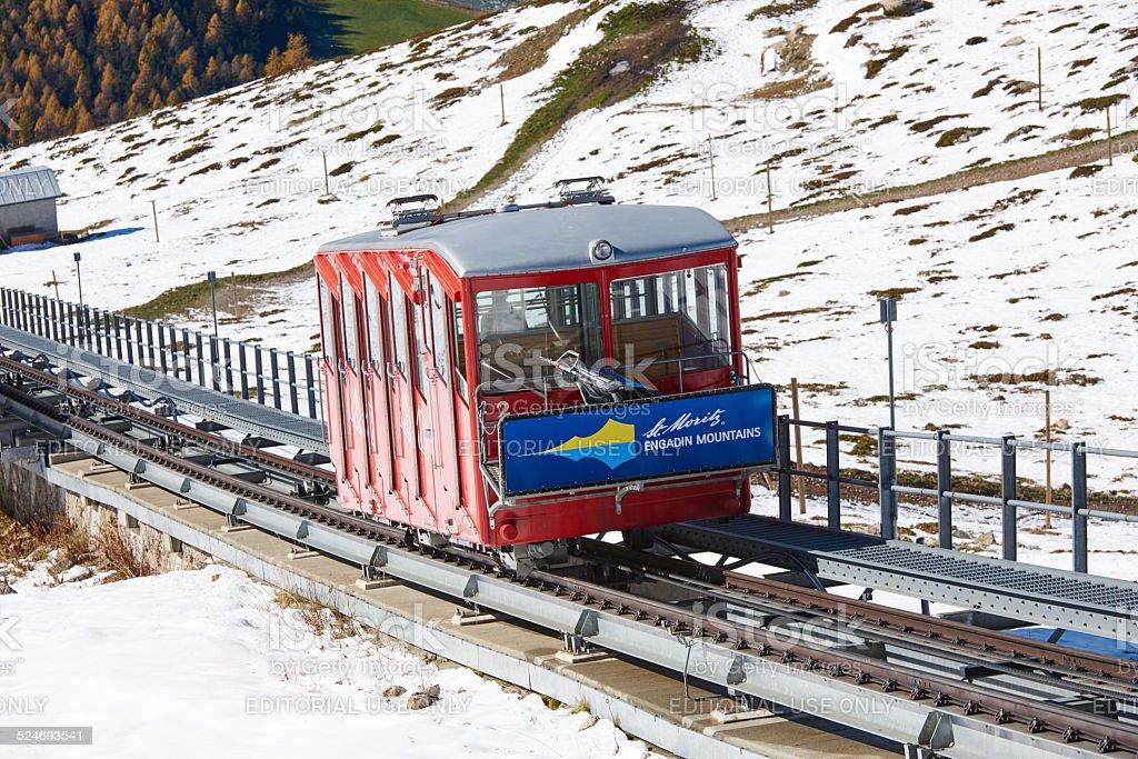 Muottas Funicular stock photo