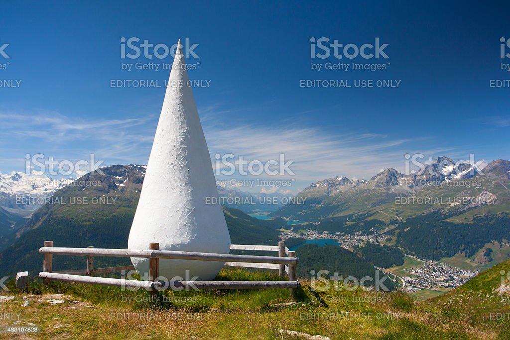 Muottas Muragl with sculpture called The Drop, Switzerland stock photo