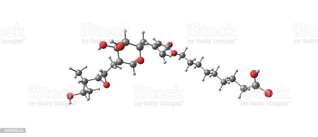 Mupirocin molecular structure isolated on white stock photo