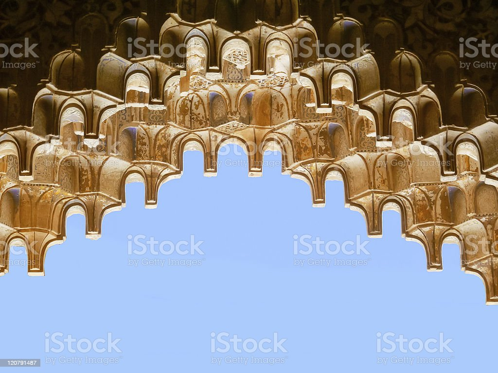 Muqarnas. Geschnitzte islamischer Architektur – details Lizenzfreies stock-foto