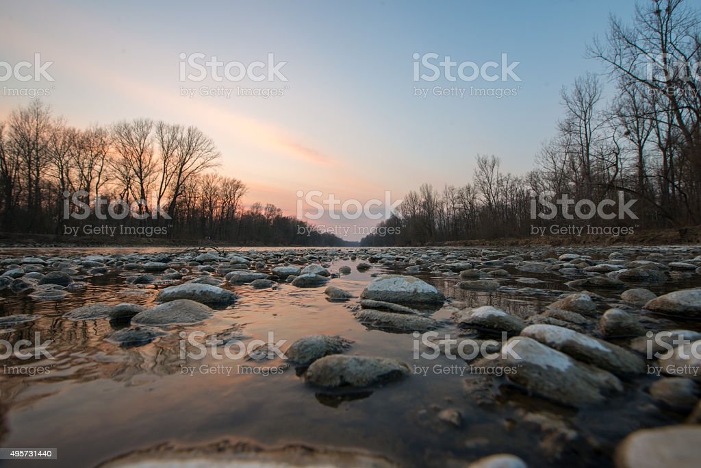 Mur river at dusk stock photo