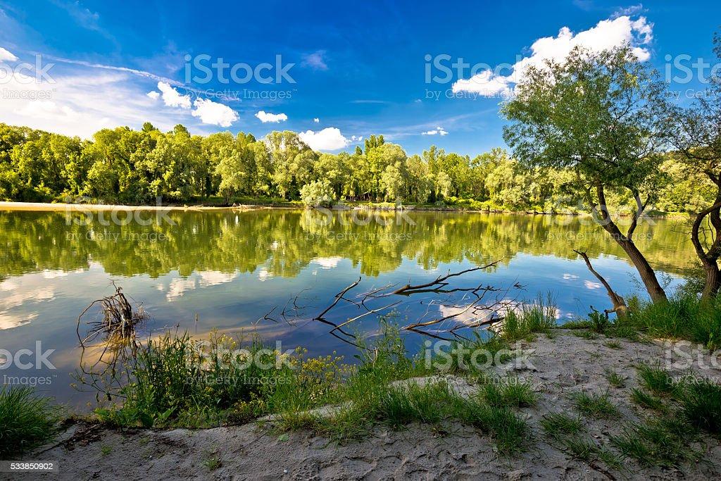 Mura and Drava rivers mouth stock photo