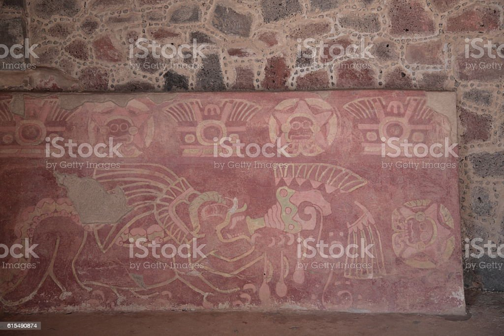Mural at the Palace of Jaguars in Teotihuacan, Mexico stock photo