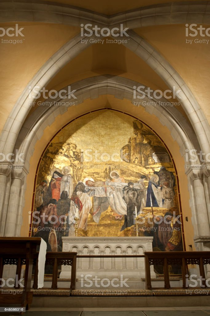Mural in National Cathedral stock photo