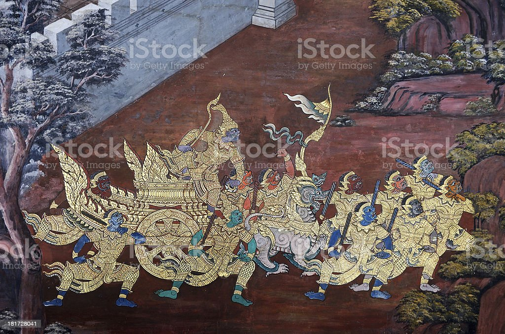 Mural of Ramayana in Wat Pra Kaew, Bangkok, Thailand royalty-free stock photo