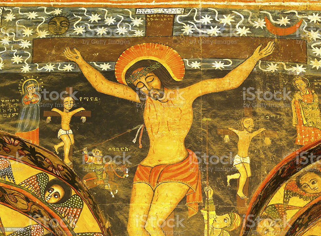 mural of the crucifixion of Jesus stock photo