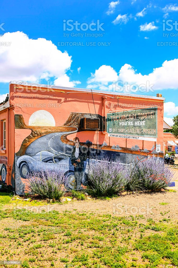 Mural on the side of a building on Route 66 stock photo
