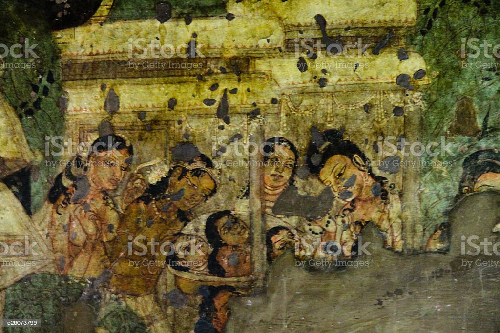 Mural Painting in Ajanta Cave - Jataka Tales stock photo