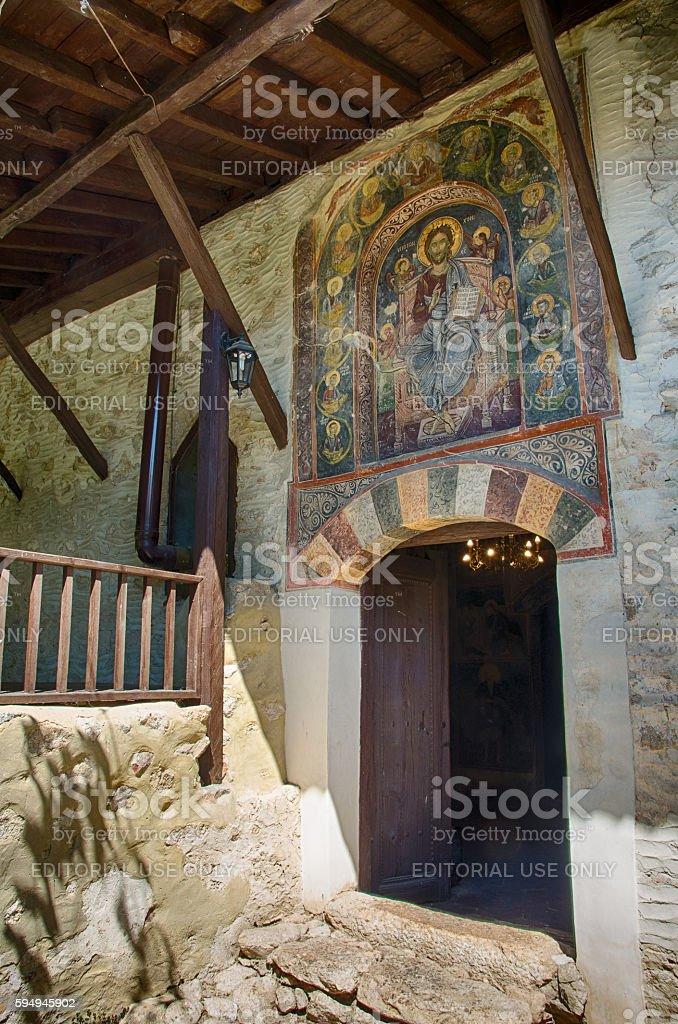 Mural painting in Rozhen Monastery, Bulgaria royalty-free stock photo