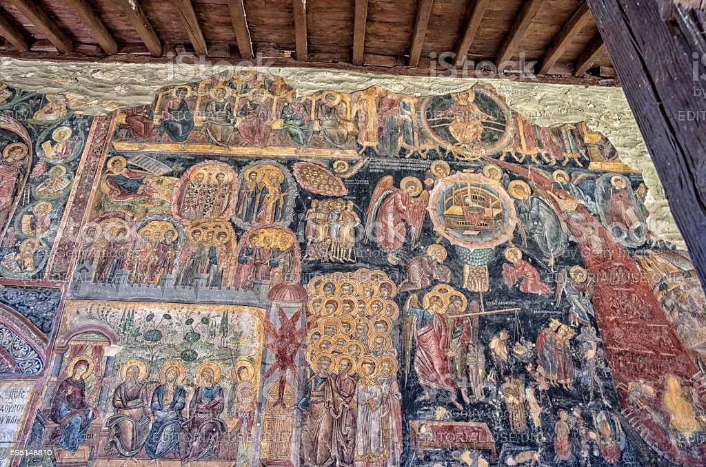 Mural painting in Rozhen Monastery, Bulgaria royalty-free stock photo
