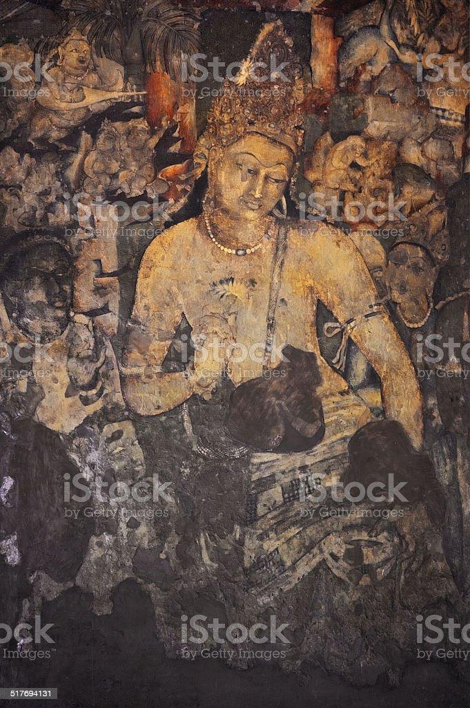 Mural Painting of Padmapani in Ajanta (Cave 1) stock photo