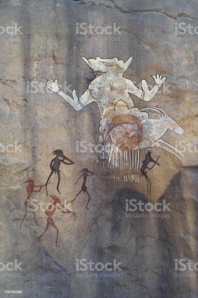 Mural Painting (hunting) stock photo