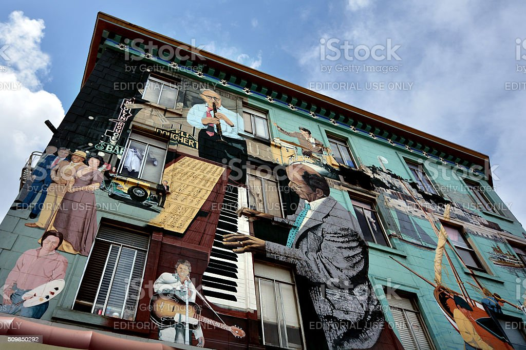 Mural wall paint on a building in San Francisco California stock photo