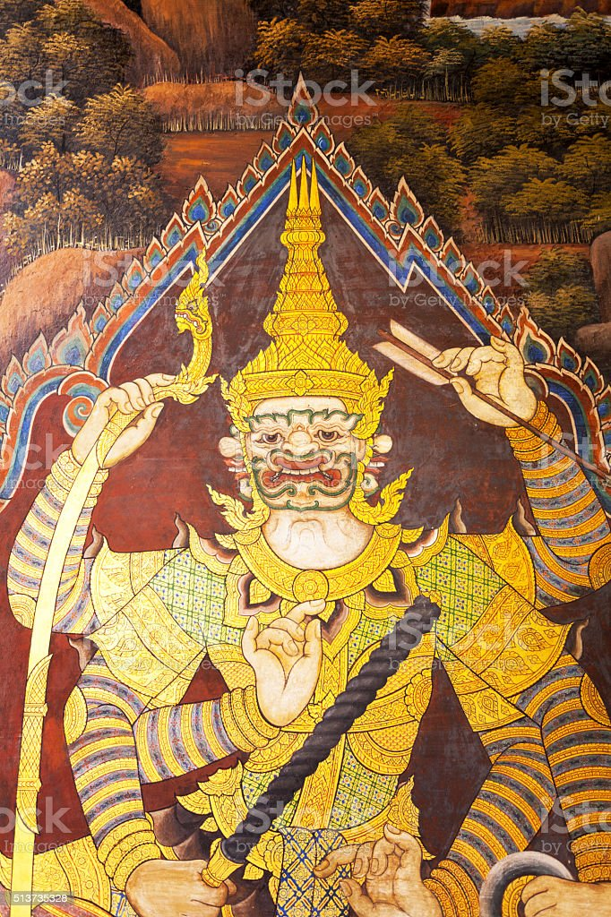 Mural with thai warrior stock photo