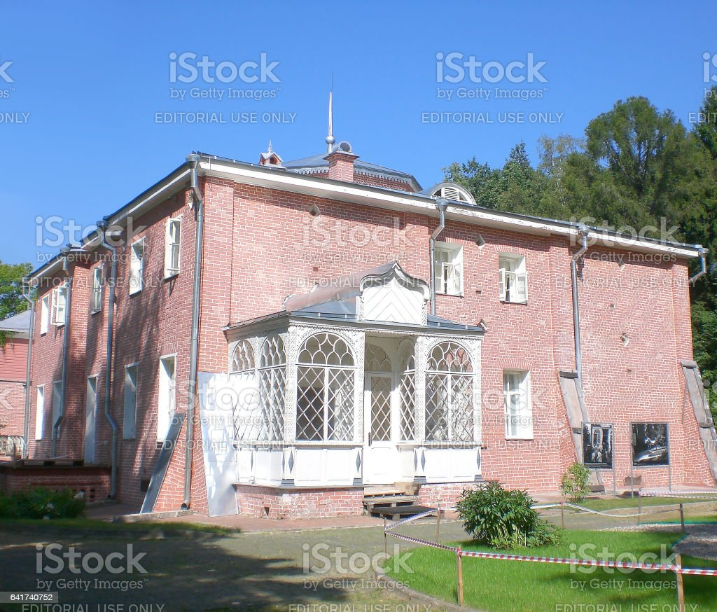 Muranovo, Moscow region, Russia-July 17, 2010: The homestead of poet Tyutchev, the ancient rural house. stock photo