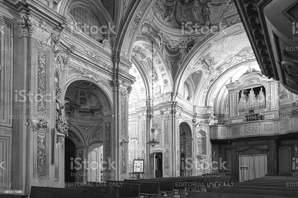 Murazzano (Cuneo): the church interior. Black and white photo stock photo
