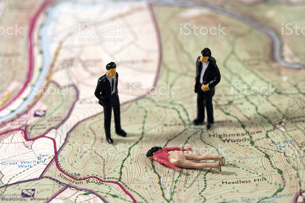 Murder scene in the woods royalty-free stock photo