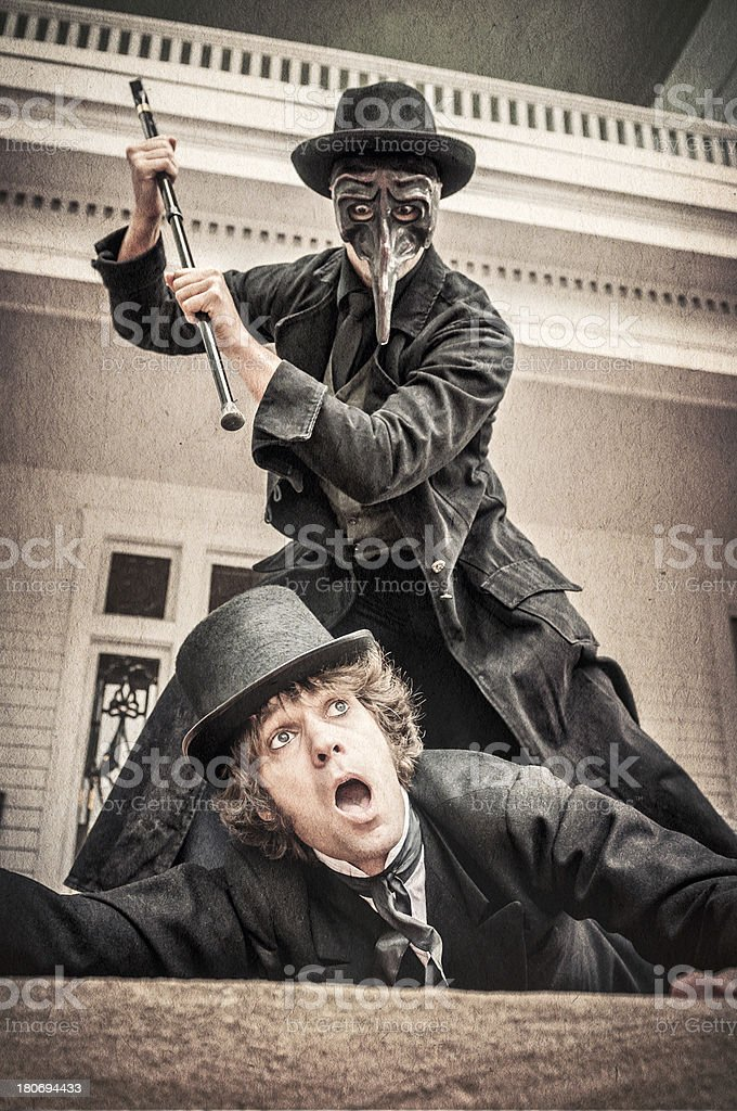 Murder with a cane scene - IV stock photo