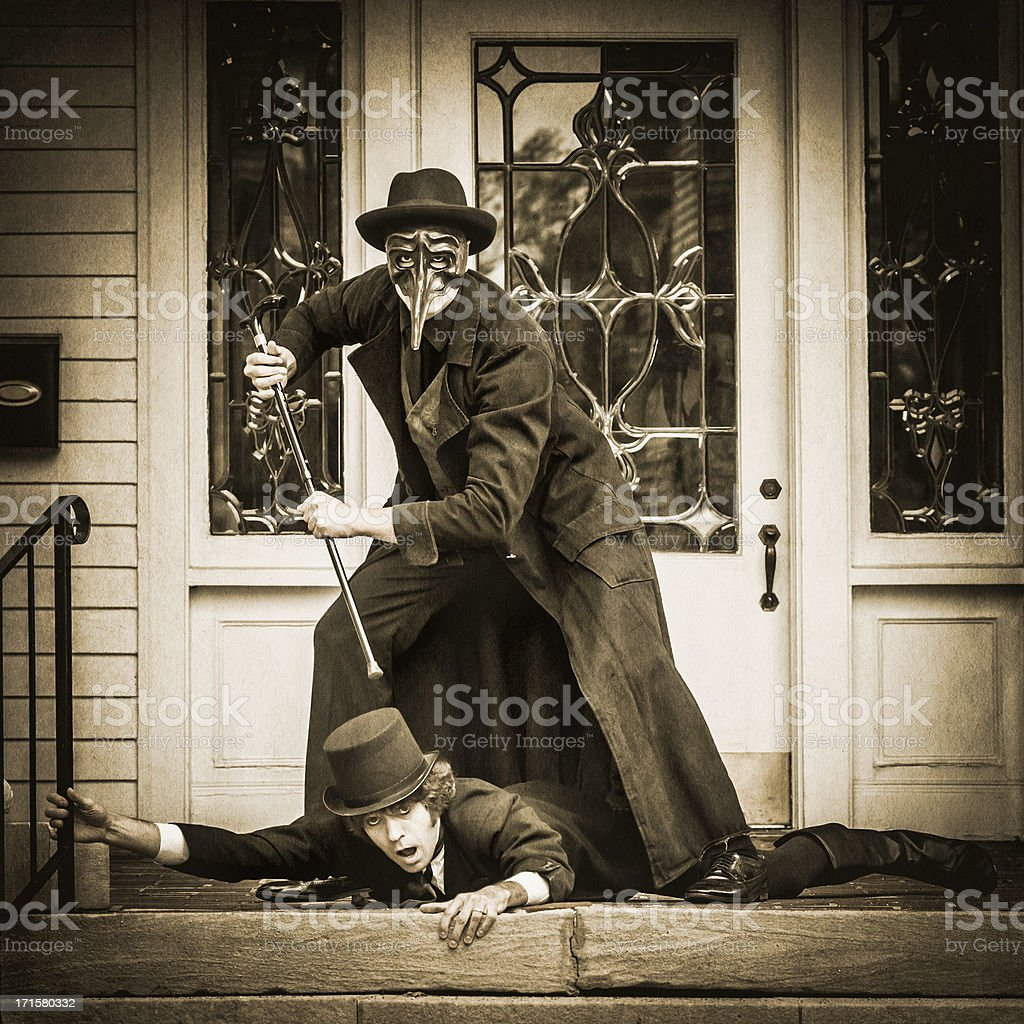 Murder with a cane scene - V royalty-free stock photo