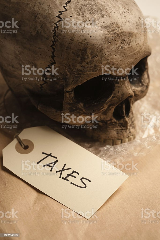Murdered by taxes stock photo