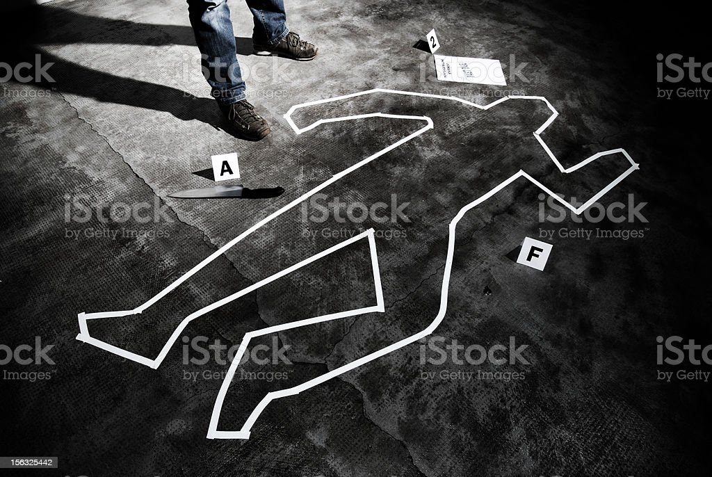 Murderer back on the crime scene stock photo