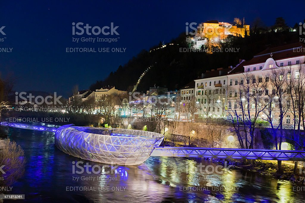 Murinsel at night, Graz stock photo