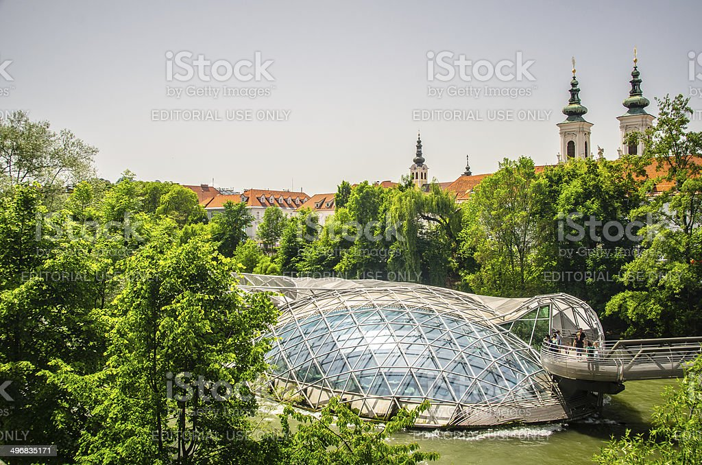 Murinsel in Graz, Austria stock photo