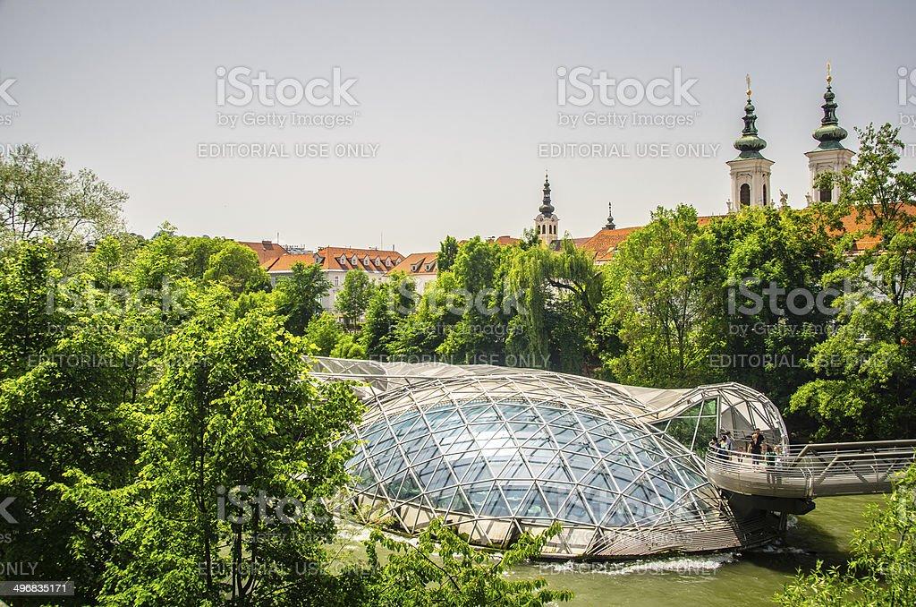 Murinsel in Graz, Austria stock photo