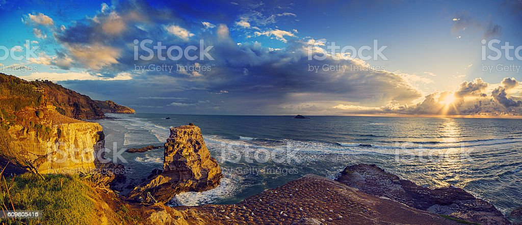 Muriwai Beach, Auckland West coast, New Zealand stock photo