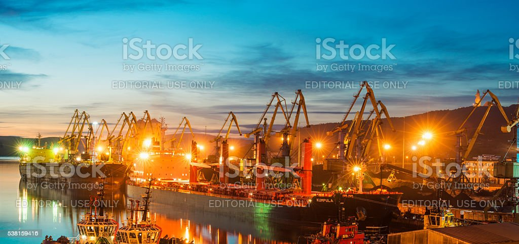 Murmansk sea trading port at evening. stock photo