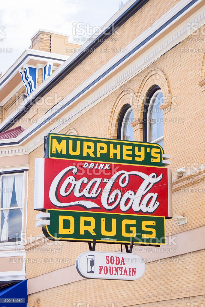 Murphey's Coca Cola, Drugs and soda fountain sign stock photo