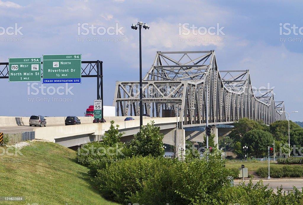 Murray Baker Bridge Peoria, Illinois stock photo