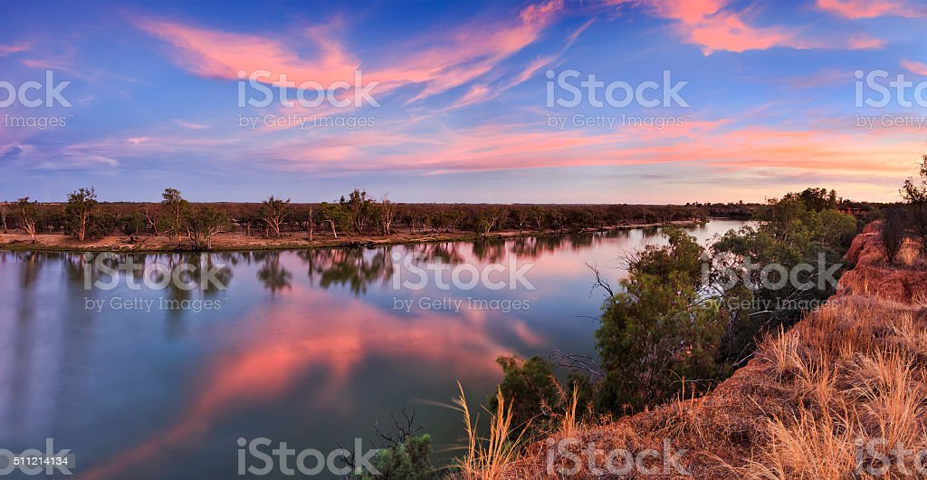 VIC Murray Cliffs sunset pan stock photo