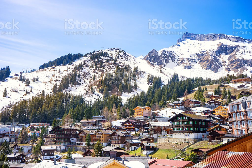 Murren, Jungfrau region, Switzerland. stock photo